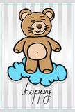 Happy little bear on a cloud. Royalty Free Stock Photo