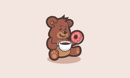 Happy little bear with coffee/chocolate and doughnut. Funny and happy little bear character that drink hot coffee or chocolate and eat doughnut Royalty Free Stock Photo