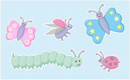 Happy little beetles, butterflies and caterpillar. Vector design illustration of cute insects Royalty Free Stock Photo