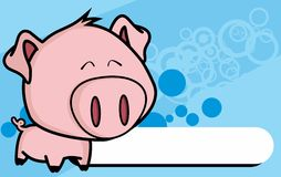 Happy little big head pig cartoon background Stock Images