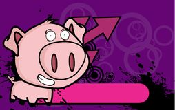 Happy little big head pig cartoon background2 Royalty Free Stock Image