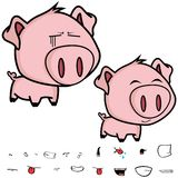 Happy little big head pig cartoon expression set Stock Photos