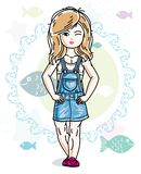 Happy little blonde girl posing on marine background with fishes and wearing fashionable casual clothes. Vector character. Happy little blonde girl posing on stock illustration