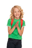 Happy little blonde girl wearing green t-shirt Stock Photos