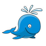 Happy little blue cartoon whale Royalty Free Stock Images