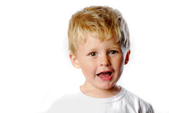 Happy little boy. On a white background Stock Images