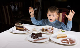 Happy little boy with an array of cake for dessert Royalty Free Stock Photo