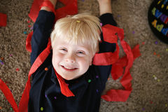 Happy Little Boy with Birthday Party Decorations royalty free stock photography