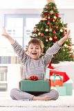 Happy little boy at christmas Stock Image