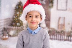 Happy boy, christmas day. Happy little boy, christmas day royalty free stock image
