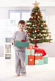 Happy little boy on christmas day Stock Images