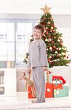 Happy little boy at christmas Stock Images