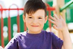 Happy little boy climbing on children playground Royalty Free Stock Photos