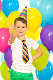Happy little boy with colorful balloons on royalty free stock photos