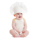 Happy little boy with cook or chef hat isolated Royalty Free Stock Photography