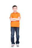 Happy little boy with crossed hands. Stock Images