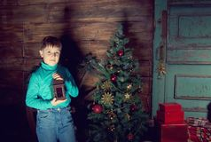Happy little Boy decorate Christmas tree Royalty Free Stock Photos
