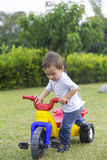 Happy Little Boy Driving His Toy Royalty Free Stock Photography