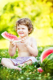 Happy little boy eating watermelon  in summer park. Royalty Free Stock Photography