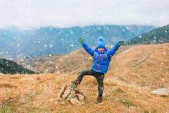 Happy little boy enjoy hiking in winter mountains stock photos