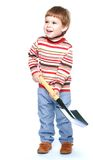 Happy little boy with entrenching shovel in his Royalty Free Stock Photo
