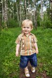 Happy little boy in forest Royalty Free Stock Photography