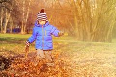 Happy little boy fun in autumn fall leaves. Kids seasonal activities Stock Photography