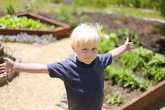 Happy Little Boy in the Garden Outside Stock Photos