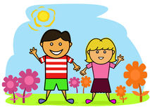 Happy Little Boy and Girl in the Beautiful Garden Cartoon Stock Photo