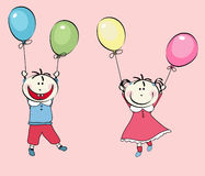 Happy little boy, girl flying with the balloons Royalty Free Stock Photo