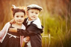 Happy little boy and girl hug Royalty Free Stock Photography