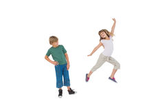 Happy little boy and girl jumping Stock Photography