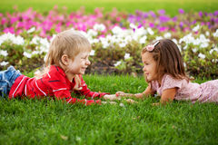 Happy little boy and girl Royalty Free Stock Image