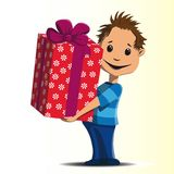 Happy little boy gives a great gift Royalty Free Stock Photography