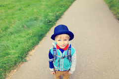 Happy little boy going to school, high angle view Stock Images