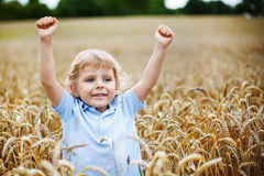 Happy little boy having fun in wheat field in summer Stock Photo