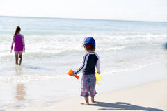 Happy Little Boy  And His Sister On The Beach Royalty Free Stock Image