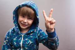 Happy Little Boy with Hoody, Peace Sign Stock Image