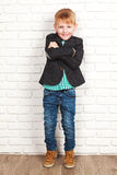 Happy little boy in jacket Royalty Free Stock Images
