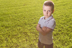 Happy little boy laying on the grass Royalty Free Stock Photos