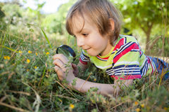 Happy little boy looking through magnifying glass Stock Images