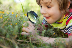 Happy little boy looking through magnifying glass Stock Photography