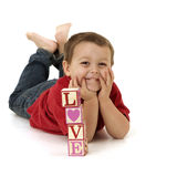 Happy little boy in love Stock Photography
