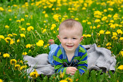 Happy little boy lying at blanket on a meadow in spring Royalty Free Stock Photo