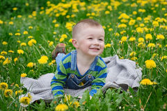 Happy little boy lying on a blanket on a meadow in spring Royalty Free Stock Image