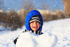 Happy little boy outdoors on winter snow day Stock Photography