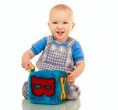 Happy little boy in overall Royalty Free Stock Photo