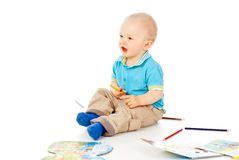 Happy little boy with pencil Royalty Free Stock Photo