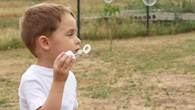 Happy little boy playing blowing soap bubbles on the street. Soapy flight in the wind. stock video footage