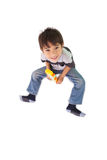 Happy little boy playing with building blocks Stock Images